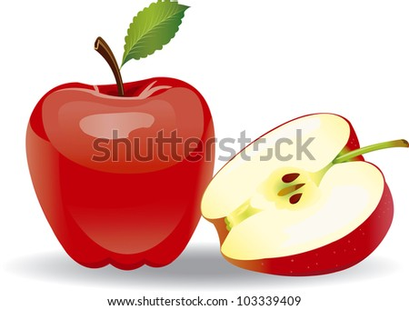 Raster version of vector red apple on a white background