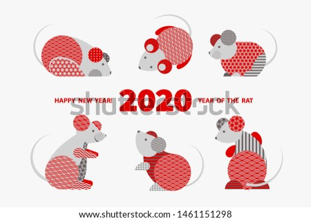 Rat is a symbol of the 2020 Chinese New Year. Holiday vector illustration of Zodiac Sign of rats decorated with geometric pattern. Greeting card in Oriental style with mice, circle elements