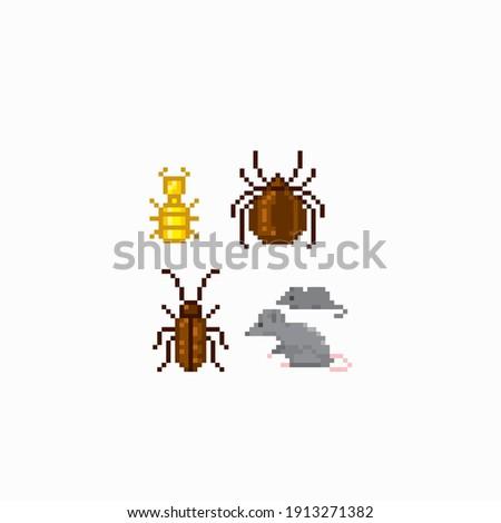 Rat, mouse, cockroach, tick, termite. Household pests. Pixel art. Old school computer graphic. 8 bit video game. Game assets 8-bit sprite. 16-bit.