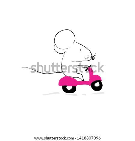 rat riding motorcyclecartoon