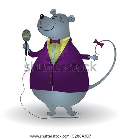 Rat singer, world famous and grandiosely popular, sings in a microphone