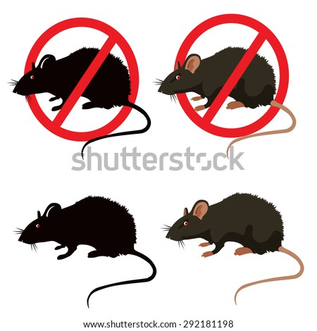 rat warning signs isolated