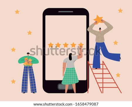 Rate our app concept. Flat vector illustration of a group of men and women taking customer survey on smartphone, evaluating application, giving 5 star rating. Online review, feedback concept