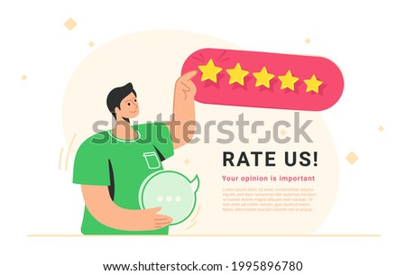 Rate us for 5 stars consumer review. Flat vector illustration of smiling man standing alone, holding a speech bubble in his hand and pointing to five stars as a rating result. User rating or feedback