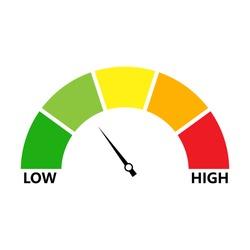 Rating customer satisfaction. Level indicator. Graphic element speedometer. Credit score manometers. Vector