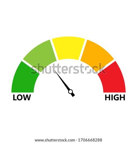 Rating customer satisfaction. Level indicator. Graphic element speedometer. Credit score manometers. Vector Сток-фото ©