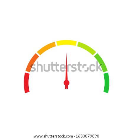Rating customer satisfaction meter isolated on white background.  Color vector scale tachometer, speedometer, indicators, score.