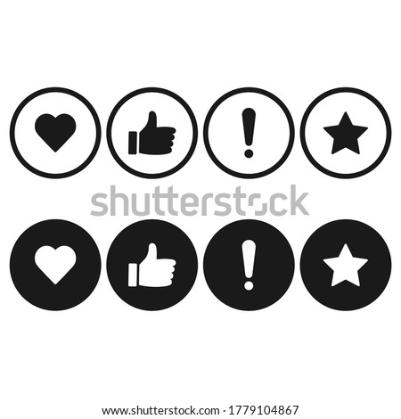 rating icons set of sign Thumb Up. Heart and star Foto stock ©