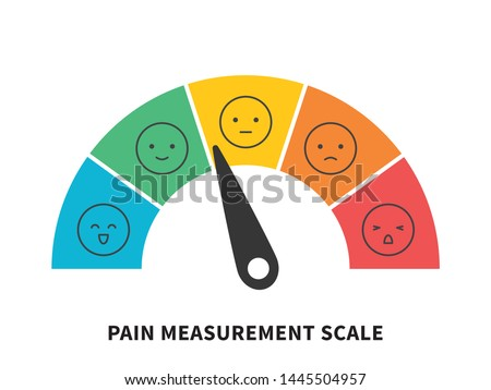 Rating pain scale horizontal gauge measurement assessment level indicator stress pain with smiley faces scoring manometer measure tool vector illustration isolated on white