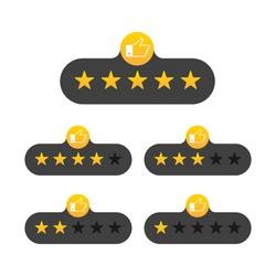 Rating stars badges on a white background. Vector illustration.