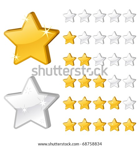 Rating stars for web. 3d vector illustration