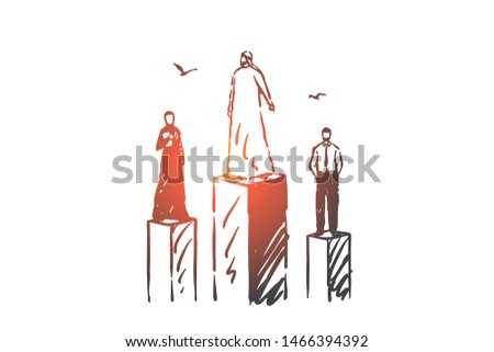 Rating, status, power, level concept sketch. Businessmen European and Arabs standing on different pedestals. Hand drawn isolated vector illustration