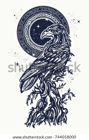 Raven and old tree tattoo and t-shirt design. Symbol of gothic, halloween, fear. Old Celtic raven on an ancient tree t-shirt design