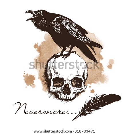 raven and skull on sepia