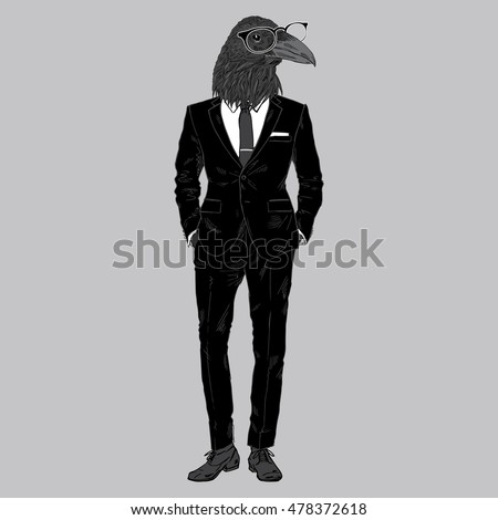 raven dressed up in suit  furry