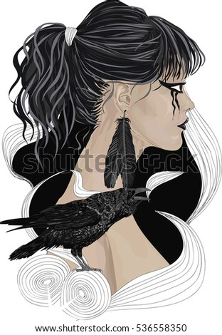 raven girl   portrait of