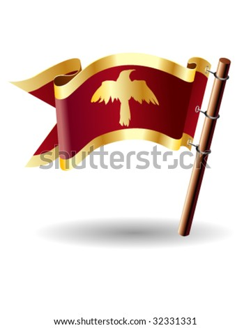 Raven in flight symbol on vector royal flag button suitable for print, web, or promotional use