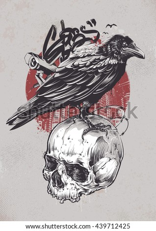 raven on skull with urban