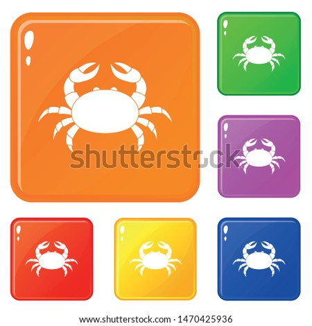 raw crab icons set collection
