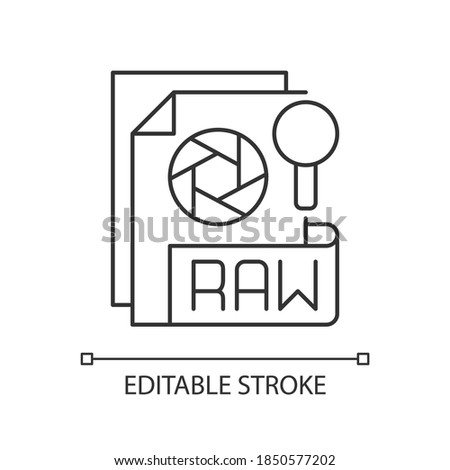 RAW file pixel perfect linear icon. Camera raw image file. File extension. Unedited state. Thin line customizable illustration. Contour symbol. Vector isolated outline drawing. Editable stroke