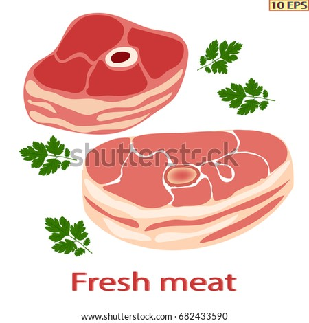 Raw ham whole closeup. A big piece of a meat pork. Fresh raw meat on white background. Vector illustration.