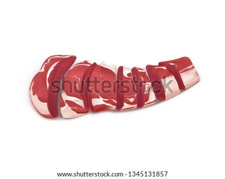 Raw marbled meat fillet sliced on pieces or portions to cook steak or grill 3d realistic vector isolated on white background. Beef tenderloin for barbeque grilling illustration. Culinary ingredient