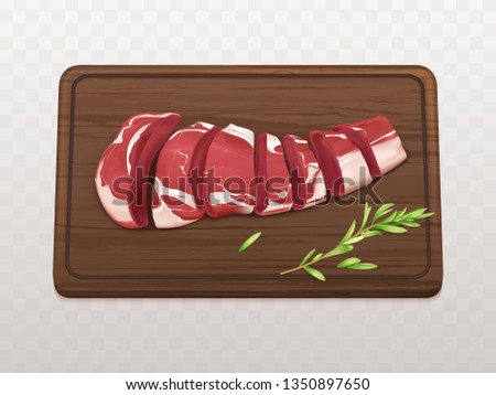 Raw marbled meat fillet sliced on pieces or portions to cook steak or grill with spices on wooden cutting board 3d realistic vector isolated on white background. Beef tenderloin for barbeque