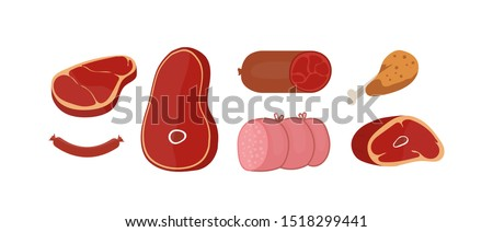 Raw meat products flat vector illustrations set. Butchery shop fresh assortment. Pork slice and beef steak isolated cliparts pack on white background. Sausage, chicken leg design elements collection.