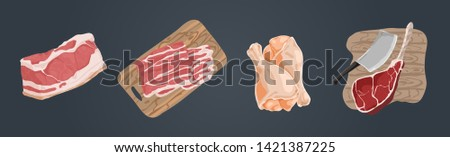 Raw uncooked meat, pork fillet, bacon slices, chicken legs, ham hough, beef gammon, delicious barbecue ingredients set
