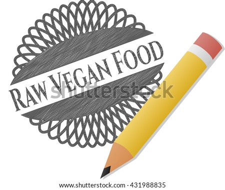 Raw Vegan Food drawn with pencil strokes