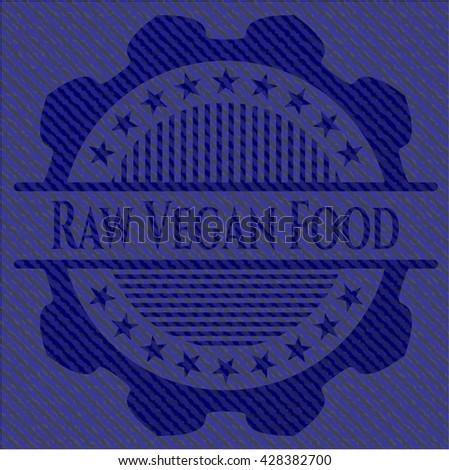Raw Vegan Food emblem with jean background
