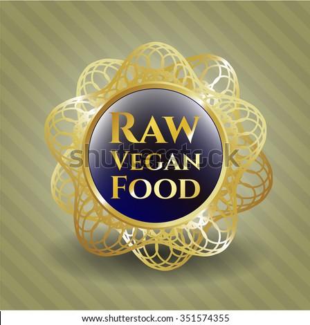 Raw Vegan Food gold shiny emblem