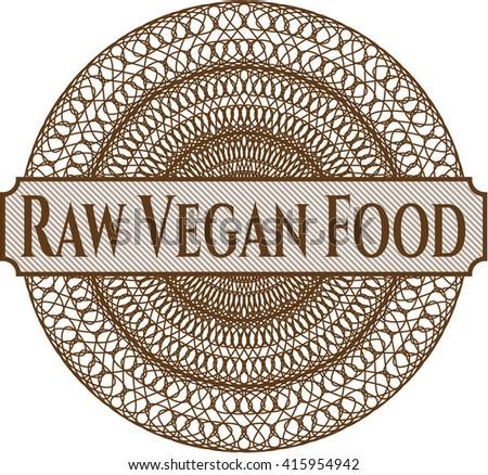 Raw Vegan Food rosette or money style emblem