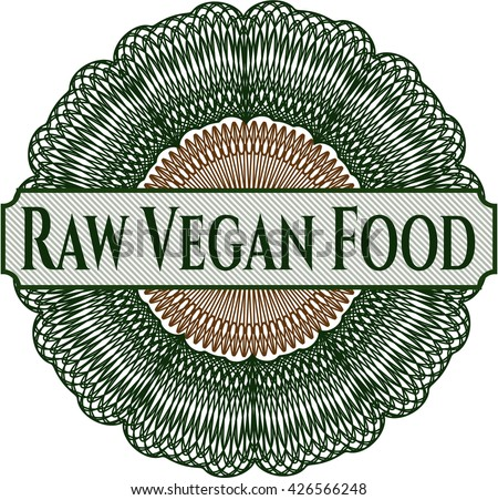 Raw Vegan Food rosette or money style emblem