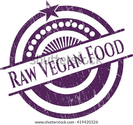 Raw Vegan Food rubber grunge texture stamp