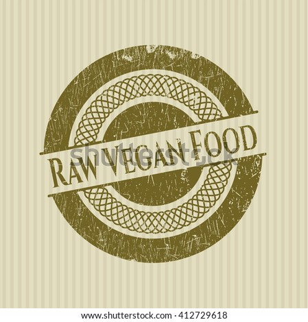 Raw Vegan Food rubber seal with grunge texture