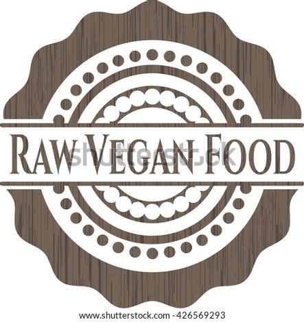 Raw Vegan Food wooden emblem. Retro