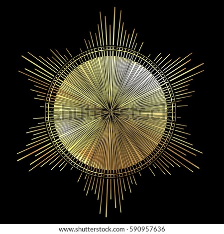 Rays of light as a halo. Hand drawn vector illustration isolated on black in vintage engraved style. Line art tattoo template. Scrapbook element. Symbol of pride and glory