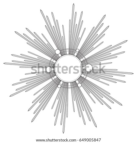 Rays of light as a halo. Hand drawn vector illustration isolated on black in vintage engraved style. Line art tattoo template. Scrapbook element. Symbol of pride and glory and divine light.