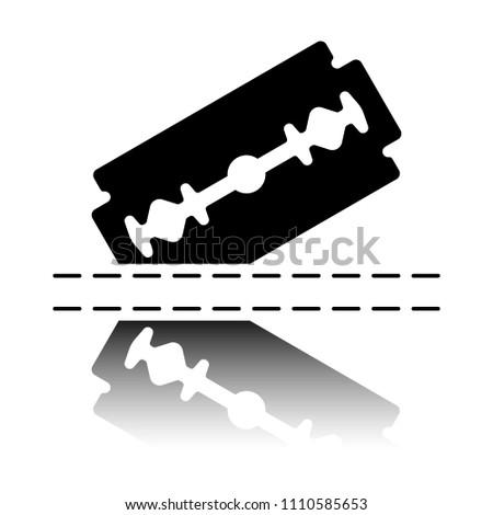 razor blade and cutting line