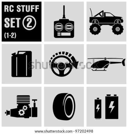 RC - vector black icon set 2. Remote control toys.