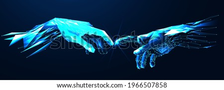 Reaching hands close up detail from The Creation of Adam of Michelangelo fresco detail illustration on the blue background, abstract vector 3d. Digital polygonal low poly mesh illustration