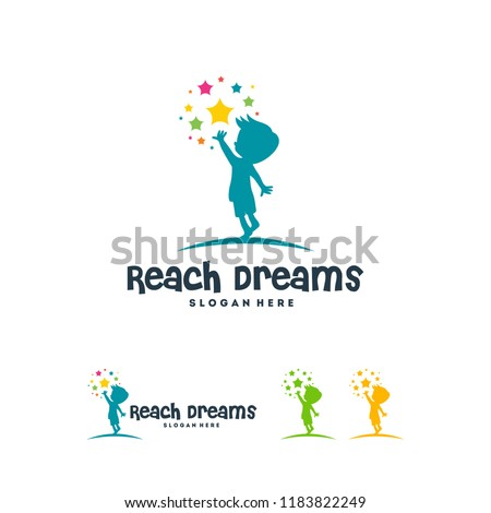 Reaching Star logo, Online Learning logo designs vector, Kids Dream logo, Reach Dreams logo