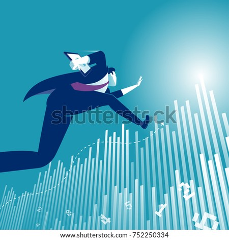 Reaching the Goal. Illustration of a manager jumping over business graph.