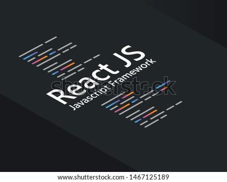 React application programming language coding software technology vector illustration