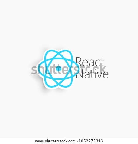 React Native. Blue vector icons on the white background.