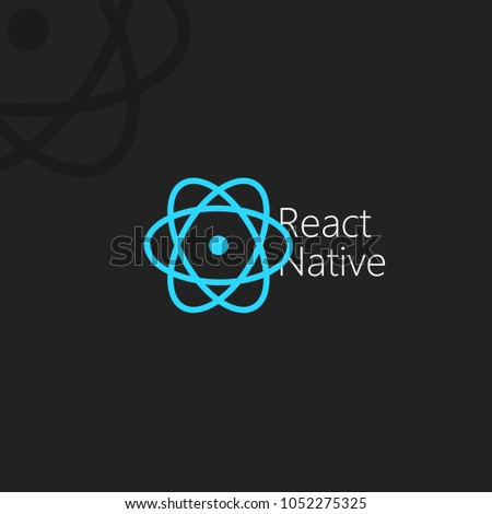 React Native. Blue vektor icons on the black background