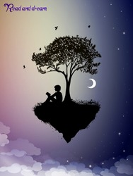 Read and dream concept, piece of childhood on the fairy sky,  boy  silhouette read the book under the tree and dream, vector