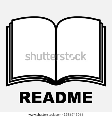 Read me book icon, isolated book icon with README text, readme file icon, vector illustration.