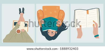 Read more book concept. Young woman reading a book, reads book while drinking coffee,Hand holding book. Hand drawn vector illustrations, flat designs.